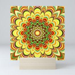 Colorful flower striped mandala Mini Art Print