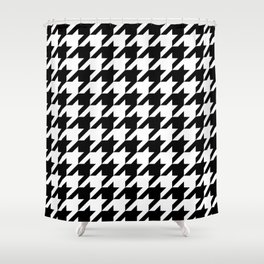Houndstooth pattern, geometric monochrome Shower Curtain
