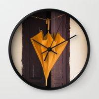 umbrella Wall Clocks featuring Umbrella by Maria Heyens
