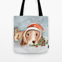 Christmas Puppy Look Tote Bag