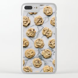 Chocolate Chip Cookies Marble Background Clear iPhone Case