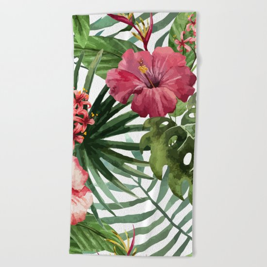 Tropical Floral Pattern 02 Beach Towel