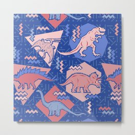 Nineties Dinosaurs Pattern  - Rose Quartz and Serenity version Metal Print