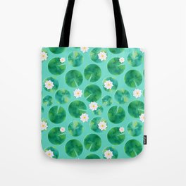 Lily Pads & White Water Lily Flowers Tote Bag