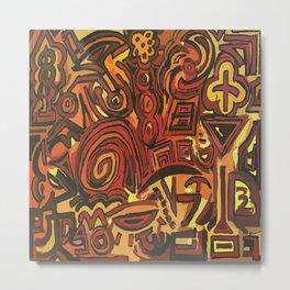 Orange Symbols Metal Print
