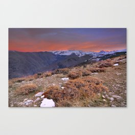 """""""Red sunset over the high mountains"""" Canvas Print"""
