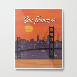San Francisco vintage poster travel Metal Print