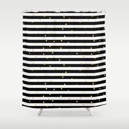 Modern black white gold polka dots striped pattern Shower Curtain