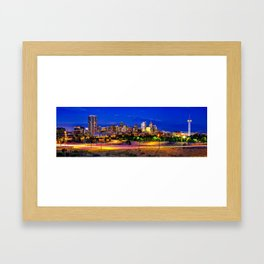 Denver Colorado Skyline Panorama Over the Speer Boulevard Bridge Framed Art Print