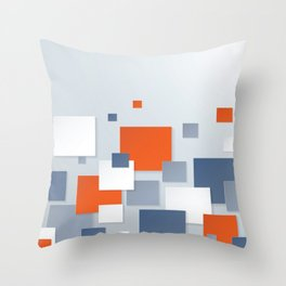 BLUE, WHITE AND ORANGE SQUARES ON A PALE BLUE BACKGROUND Abstract Art Throw Pillow