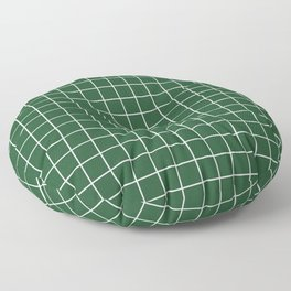 Cal Poly Pomona green - green color - White Lines Grid Pattern Floor Pillow