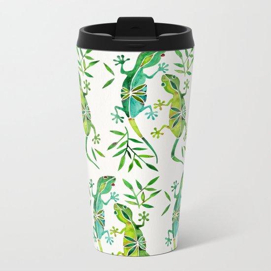 Geckos – Green Palette Metal Travel Mug