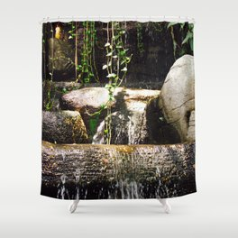 dreamy water flowing over old Asian stones Shower Curtain