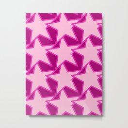 Modern Star Geometric, Pale Pink and Fuchsia Metal Print