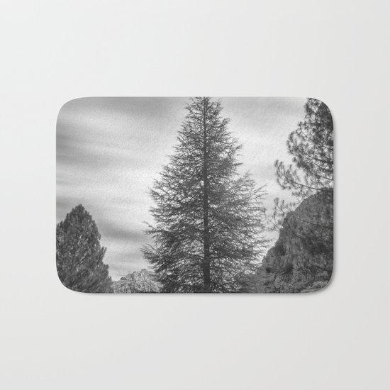 """""""Looking for the sky"""" Into the woods... BW Bath Mat"""