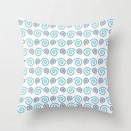 geometric design bue spirals Throw Pillow