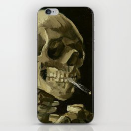 SKULL OF A SKELETON WITH BURNING CIGARETTE - VINCENT VAN GOGH iPhone Skin