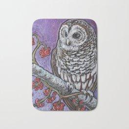 Barred Owl and Berries Bath Mat