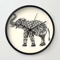 ornate elephant Wall Clocks featuring Elephant by famenxt