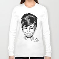 hepburn Long Sleeve T-shirts featuring Audrey Hepburn by Geryes