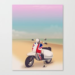 Union Jack Scooter Travel poster, Canvas Print