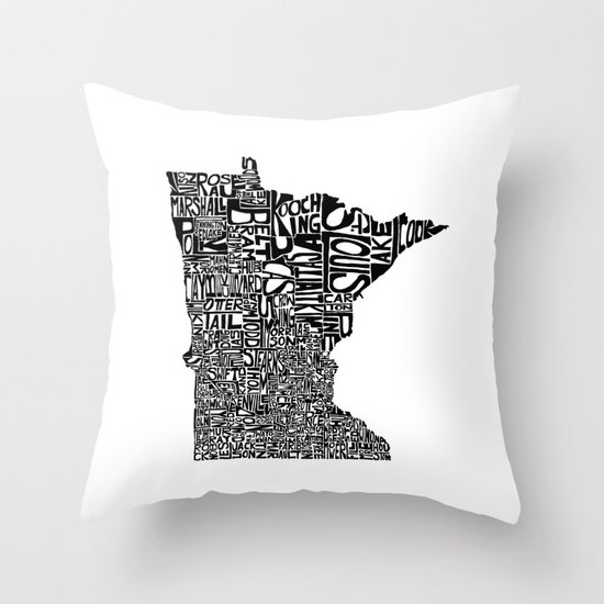 Typographic Minnesota Throw Pillow