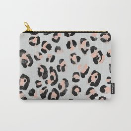 Jungle Leopard Print Pale Rosette & Ultimate Gray _Oil Painting Pattern Carry-All Pouch