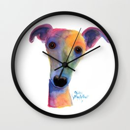 Nosey Dog Whippet Greyhound ' PANSY ' by Shirley MacArthur Wall Clock