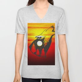 Negative space Wolf with forest Unisex V-Neck