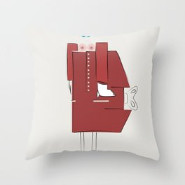 Red Coat Woman Throw Pillow