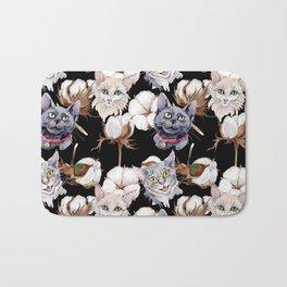 Cotton Flower & Cat Pattern on Black 02 Bath Mat