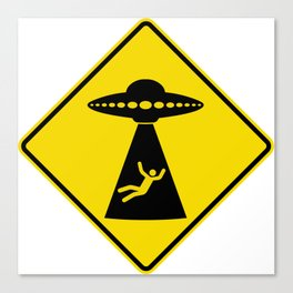 Alien Abduction Safety Warning Sign Canvas Print