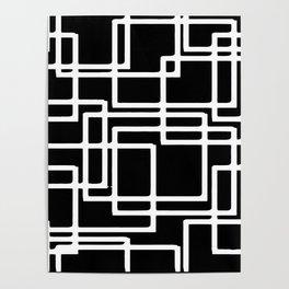 Interlocking White Squares Artistic Design Poster
