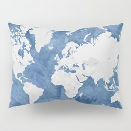 Navy blue watercolor and light grey world map with countries (outlined) Pillow Sham
