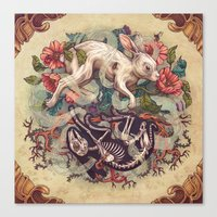 bunny Canvas Prints featuring Dust Bunny by Kate O'Hara Illustration