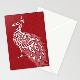 crimson peacock pavo real ecopop Stationery Cards