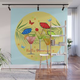 Hello Summer, vector illustration with text Wall Mural