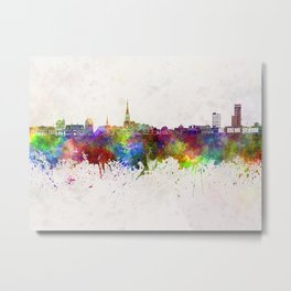 Leeuwarden skyline in watercolor background Metal Print