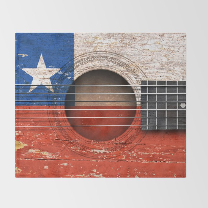 Old Vintage Acoustic Guitar with Chilean Flag Throw Blanket