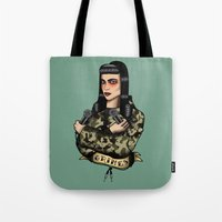grimes Tote Bags featuring Grimes by Jamie Luna