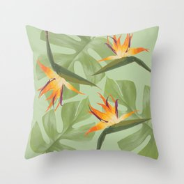 Three Paradise Flowers with Monstera Leaf Throw Pillow