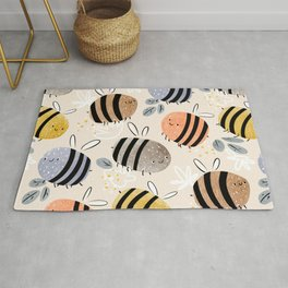 Sweet little baby bees watercolor illustration Rug