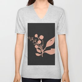Pink Minimal Wildflowers On Charcoal Unisex V-Neck