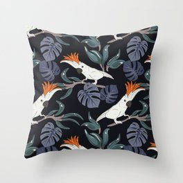Parrot in jungle Throw Pillow