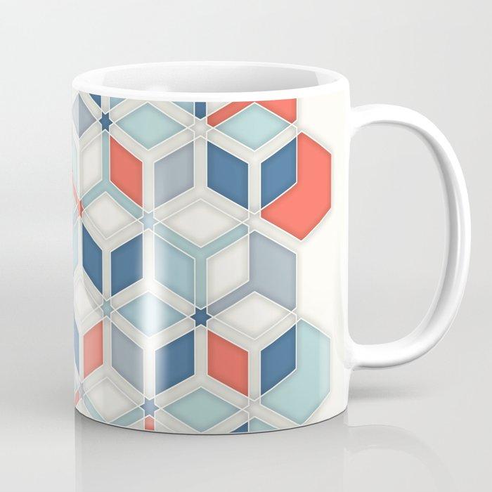 Soft Red, White & Blue Hexagon Pattern Play Coffee Mug
