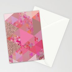 Triangles in glittering pink- glitter triangle pattern Stationery Cards