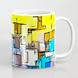 geometric graffiti square pattern abstract in yellow blue and brown Coffee Mug