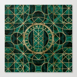Web of Wyrd The Matrix of Fate - Gold and Malachite Canvas Print