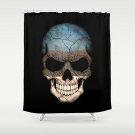 Dark Skull with Flag of Estonia Shower Curtain
