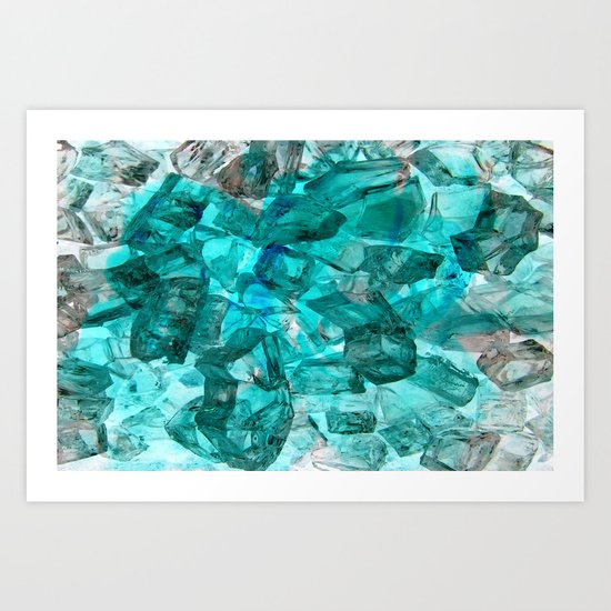 Turquoise Glass Chrystal Abstract Art Print